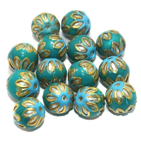 Meenakari Round Beads 12mm Teal