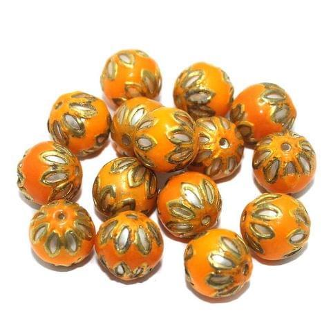 Meenakari Round Beads 12mm Orange