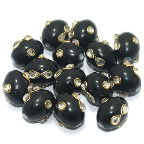 Glass Kundan Beads Oval 15x12mm Black