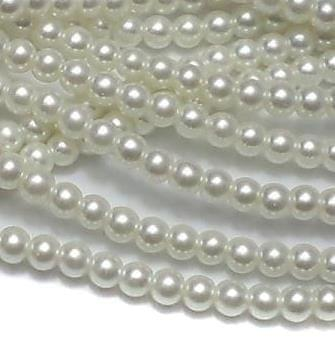 100+ Glass Pearl Round Beads White 4 mm