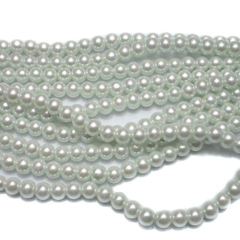 50+ Glass Pearl Round Beads White 8 mm