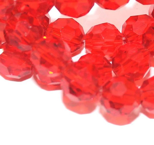 50+ Crystal Faceted Football Beads Trans Red 8mm