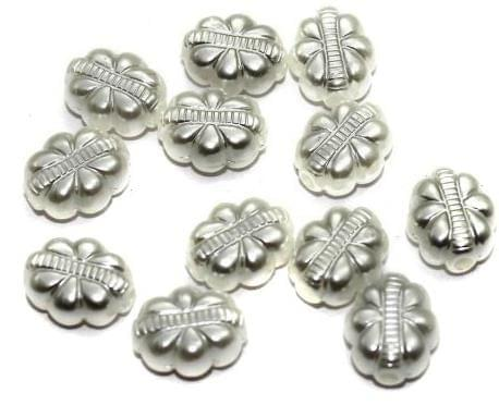 85+ Pearl Flower Beads White 12x10mm