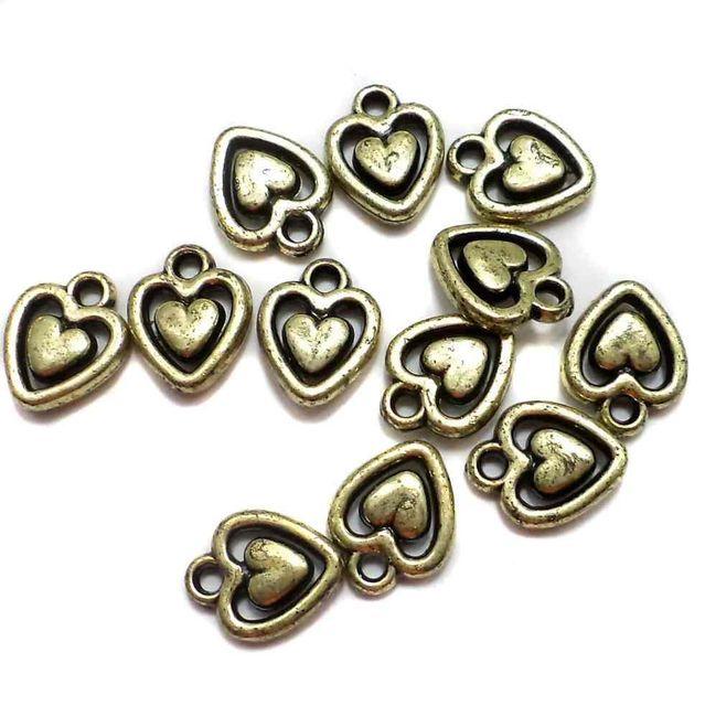 200 Gm Acrylic Heart Beads Golden Finish 14x10mm
