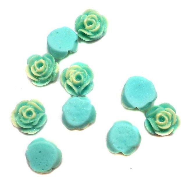100 Resin Ear Ring Rose Components Turquoise With Out Hole 10 mm