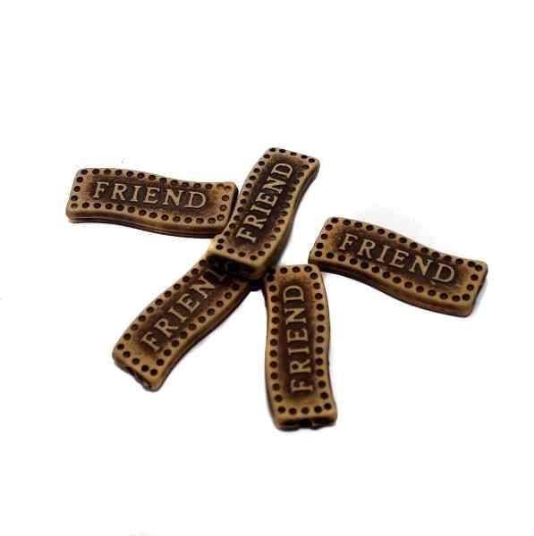 100 Friend Alphabet Beads 25x8mm