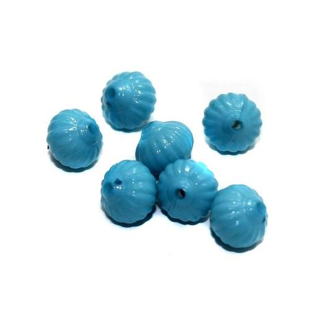 120+ Acrylic Melon Beads Turquoise 12mm
