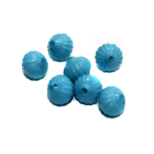 120+ Acrylic Melon Beads Turquoise 12mm