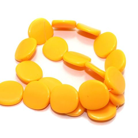 2 Strings Acrylic Neon Flat Disc Beads Yellow 20mm
