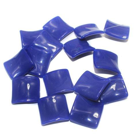 2 Strings Acrylic Neon Flat Rectangle Beads Dark Blue 22mm