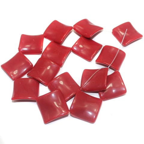 2 Strings Acrylic Neon Flat Rectangle Beads Dark Red 22mm