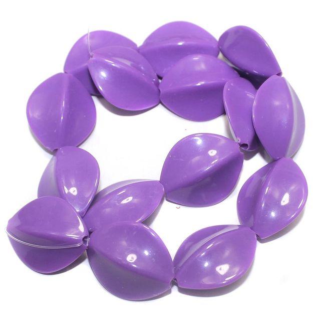 2 Strings Acrylic Neon Flat Tumble Beads Purple 28x23mm