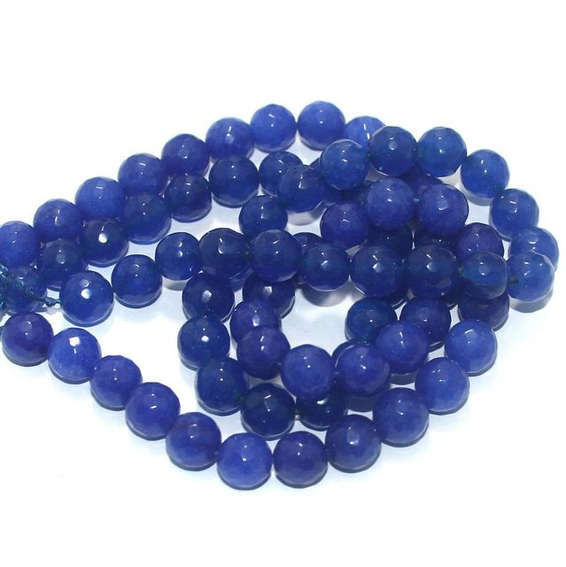 Zed Cut Round Beads Blue 10 mm, 2 string
