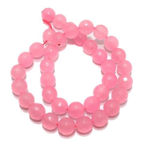 Zed Cut Round Beads Pink 10 mm, 2 string