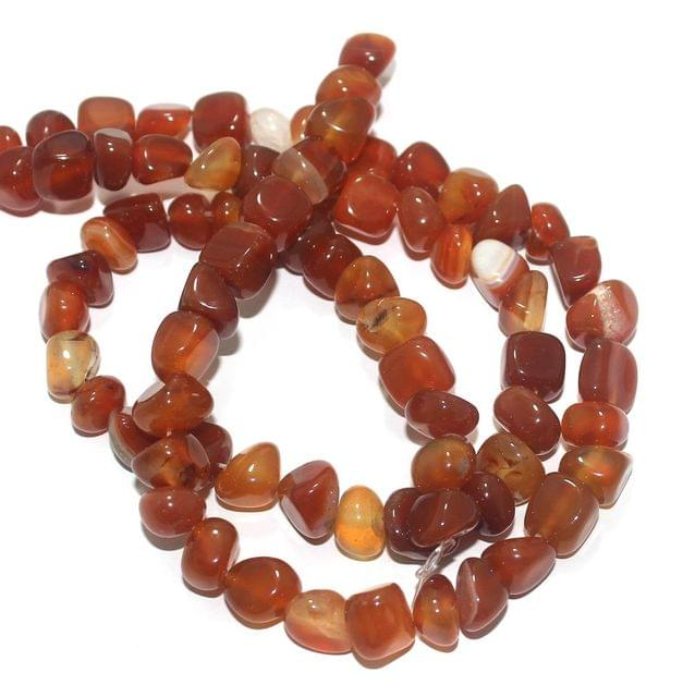 Tumble Onyx Stone Beads Multi Orange 9-11 mm, Pack Of 2 Strings