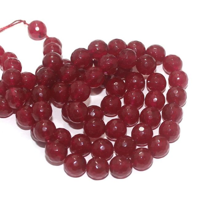 Zed Cut Round Beads Red 10 mm, 2 string