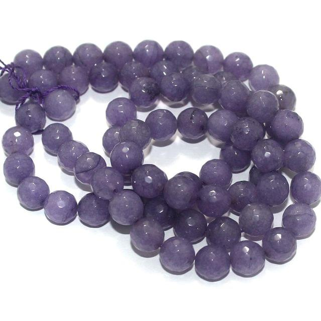 Zed Cut Round Beads Purple 10 mm, 2 string