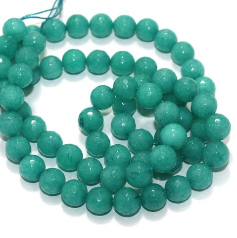 Zed Cut Round Beads Sea Green 10 mm, 2 string