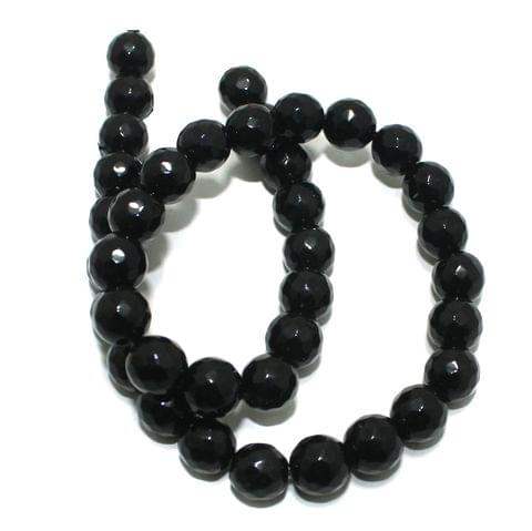 Zed Cut Round Beads Black 10 mm, 2 string