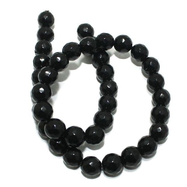 Zed Cut Round Beads Black 10 mm, 2 string