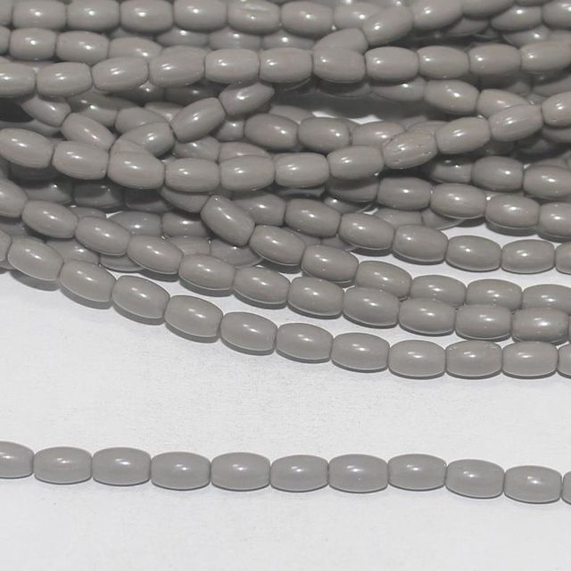 Grey glass oval beads 7x4mm 12 Strings