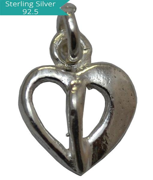 Sterling Silver Divided Heart Charm, Pack of 5 Pcs