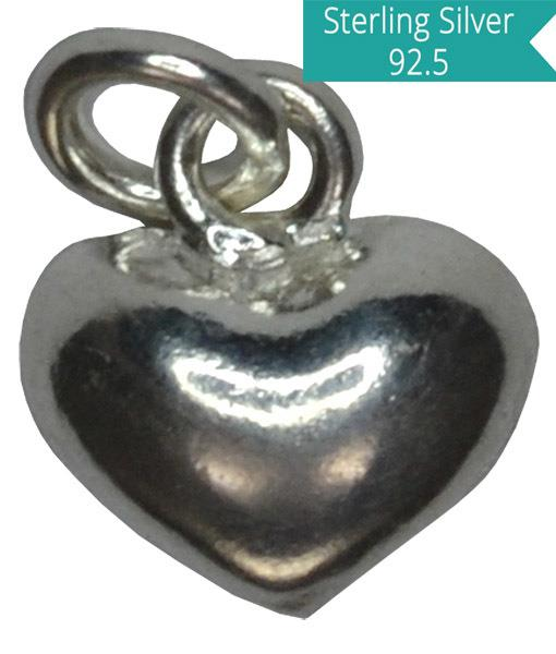 Sterling Silver Puffed Heart Charm, Pack of 5 Pcs.