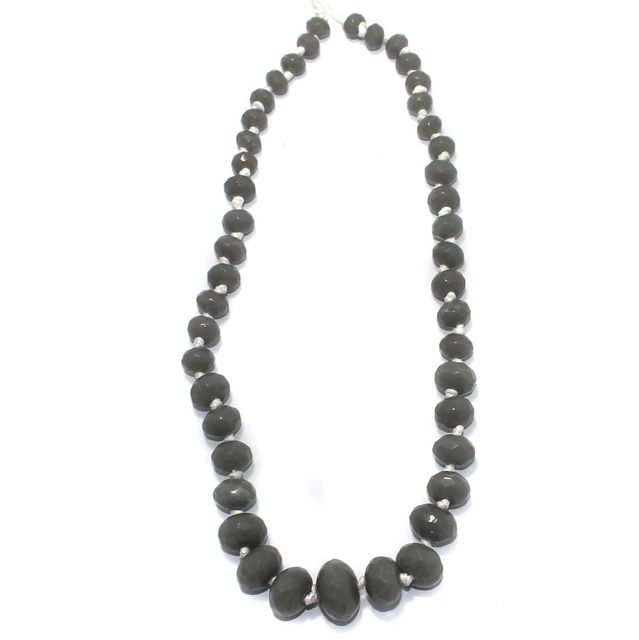 40+ Faceted Glass Rondelle Beads Grey 8-17mm