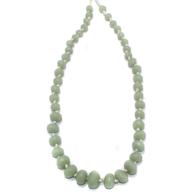 40+ Faceted Glass Rondelle Beads Aquamarine 8-17mm