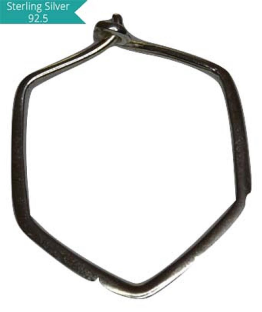 Sterling Silver Hexagon Hoops, Pack of 5 Pcs.