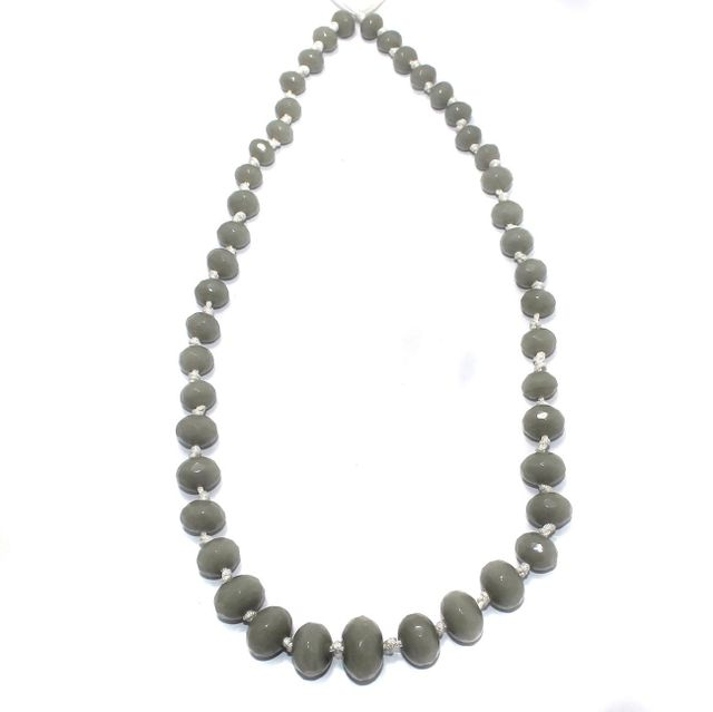 40+ Faceted Glass Rondelle Beads Light Gray 8-17 mm