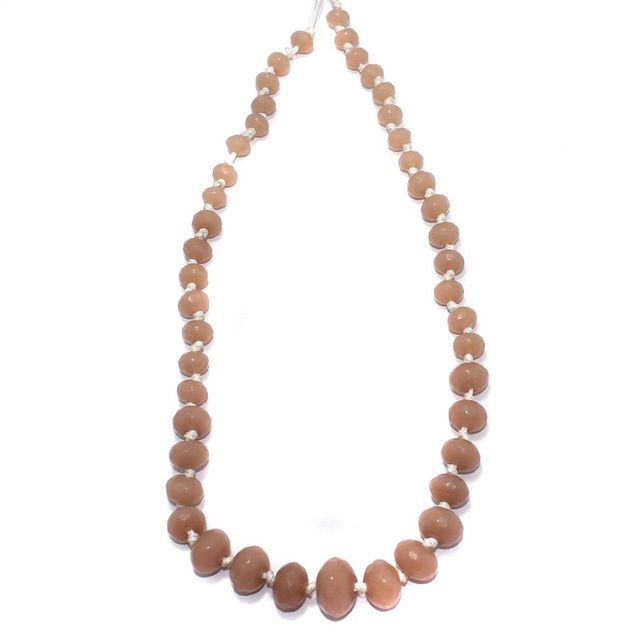 40+ Faceted Glass Rondelle Beads Light Peach 8-17mm