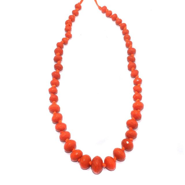 40+ Faceted Glass Rondelle Beads Orange 8-17mm