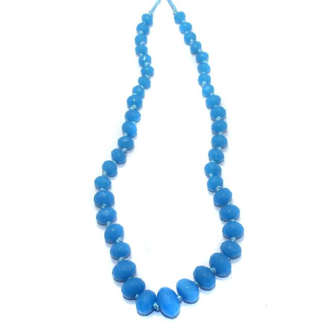 40+ Faceted Glass Rondelle Beads Sky Blue 8-17mm
