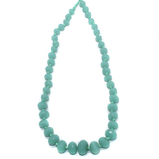 40+ Faceted Glass Rondelle Beads Turquoise 8-17mm