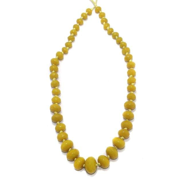 40+ Faceted Glass Rondelle Beads Yellow 8-17mm