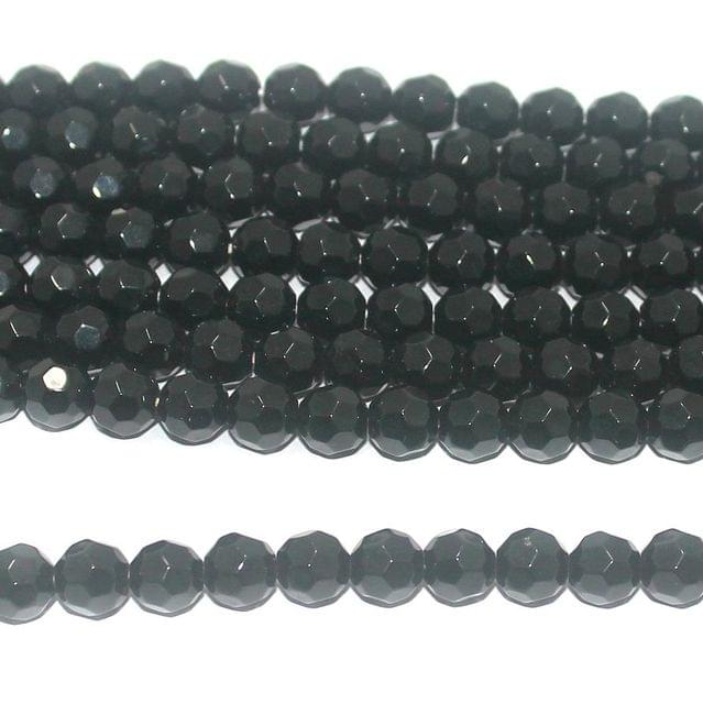 40+ Faceted Glass Round Beads Black 8mm