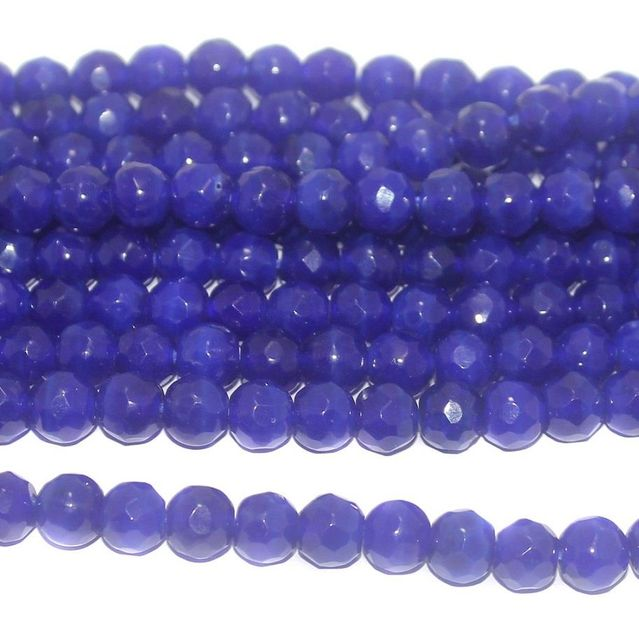 40+ Faceted Glass Round Beads Blue 8 mm