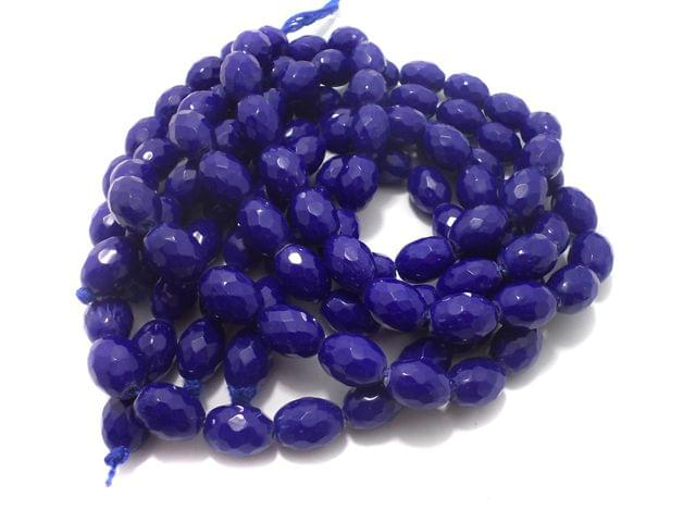 1 Strings Faceted Glass Oval Beads Blue 17x12 mm
