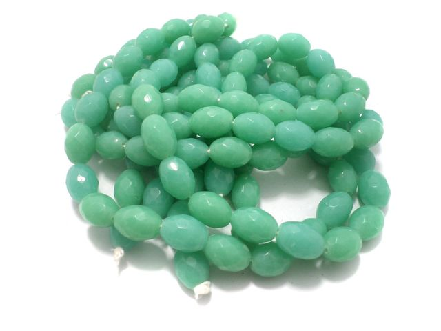 1 Strings Faceted Glass Oval Beads Aquamarine 17x12 mm
