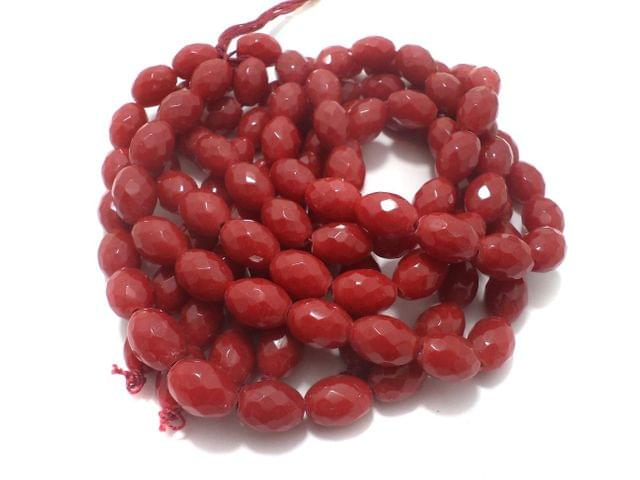 1 Strings Faceted Glass Oval Beads Red 17x12 mm