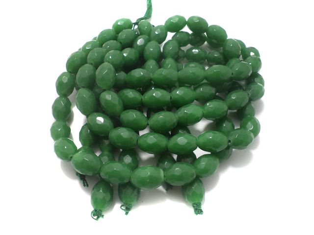 1 Strings Faceted Glass Oval Beads Green 17x12 mm