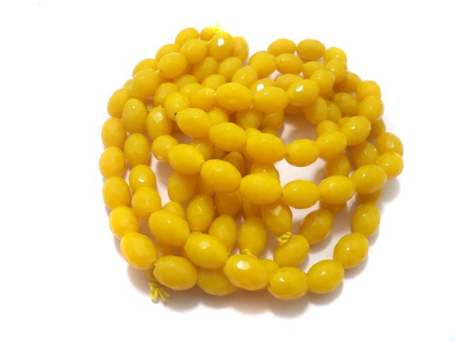 1 Strings Faceted Glass Oval Beads Yellow 17x12 mm