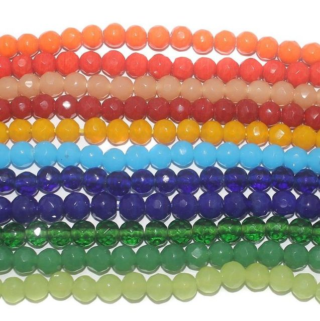 500+ 11 Strings Combo Faceted Glass Round Beads 8 mm