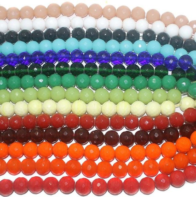270+ 14 Strings Combo Faceted Glass Round Beads 16 mm
