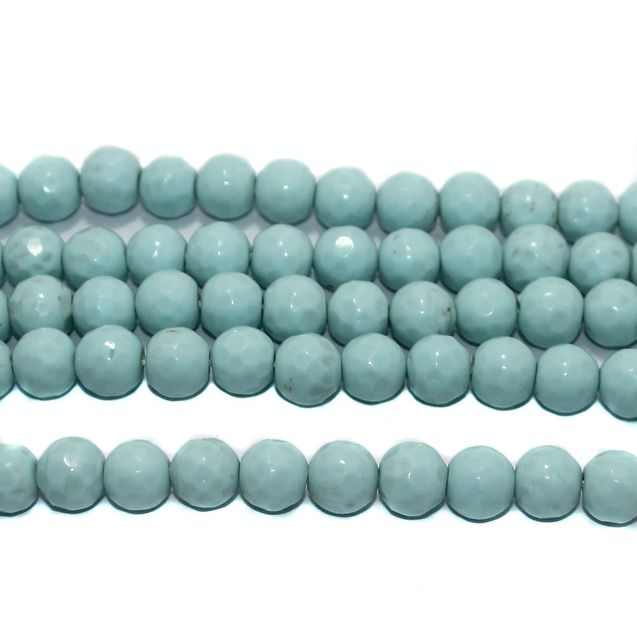 35+ Faceted Glass Round Beads Turquoise 10 mm