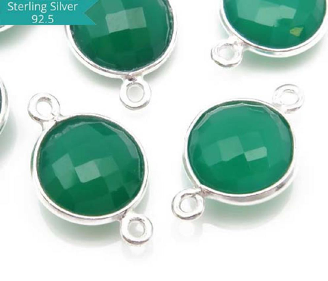 Sterling Silver Round Green Onyx Connector