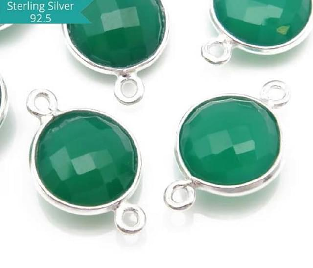 Sterling Silver Round Green Onyx Connector, Pack of 2 Pcs.