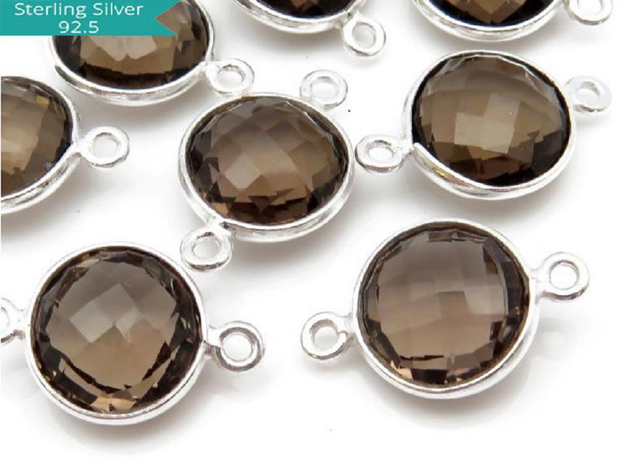 Sterling Silver Round Smoky Quartz Connector, Pack of 2 Pcs.