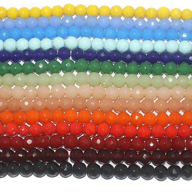 500+ 14 Strings Combo Faceted Glass Round Beads 10 mm